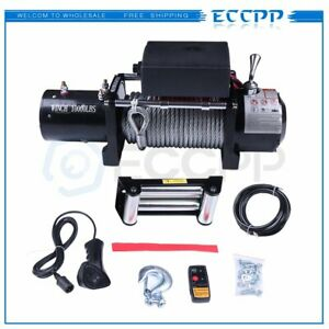 10000lb 12v Electric Winch 80 3 8 Steel Rope Towing For 81 18 Jeep Pickup Truck