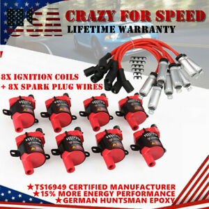 8pack Round Ignition Coils Spark Plug Wires For Chevy Silverado 1500 Gmc D585