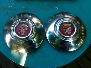 Two 1941 Cadillac Hub Caps Matching Centers Oem Original Maybe Show Quality