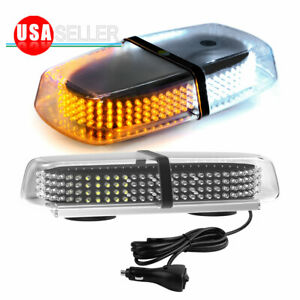 Emergency Roof Warning 240 Led Strobe Lights Magnetic Base Amber White 12 24v