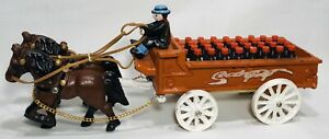 Vintage Coca Cola Cast Iron Wagon with Clydesdale Team, Driver, and Cola Bottles