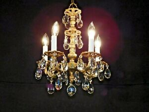 Antique French 5 Lite Cut Lead Crystal Ultra Petite Bronze Brass Chandelier
