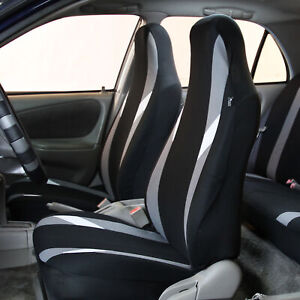 Front Bucket Highback Seat Covers Set For Auto Suv Van Coupe Gray Black