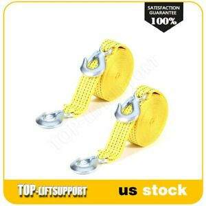 Tow Strap 2 X 20ft Winch Tree Saver Protector W Hooks Snatch Recovery 2pcs