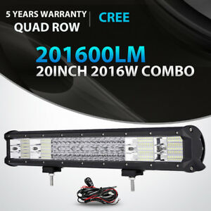 Quad Row 20inch 2016w Led Light Bar Spot Flood Combo Offroad Driving Lamp Suv 22