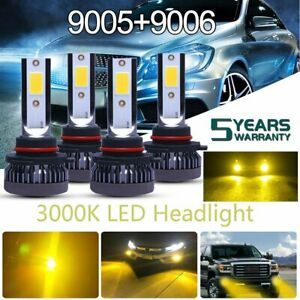 9005 Hb3 9006 Hb4 Led Headlight Kit 3000k Yellow Fog Light High Low Beam