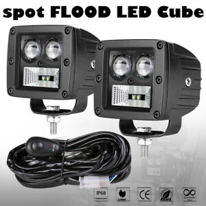 2x 80w Led Cube Pods Work Light Bar Hyper Spot Flood Offroad 4wd 3 wiring Kits