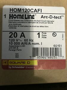 New In Box Lot Of 5 Qty Hom120cafi Square D 20 Amps arc fault