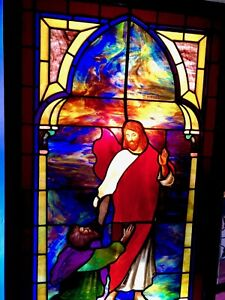 Victorian Stained Glass Church Window Depicting Christ Circa 1855 1910 Rare