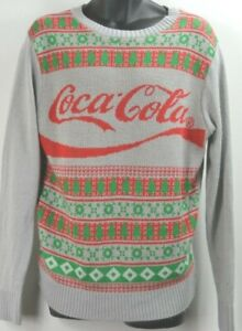 Coca Cola Brand Spellout Christmas Long Sleeve Sweater Red Grn Tree Snowflake M
