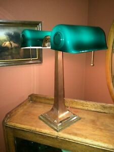 Verdelite Emeralite Antique Partners Bankers Lamp Green Shades Craftsman