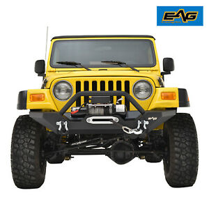 Eag Front Bumper W Winch Plate D Rings Offroad Fit 87 06 Jeep Wrangler Tj Yj