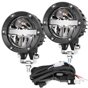 2x 4 180w Round Led Driving Work Light Bar Hi low Beam Pods Offroad Truck 12v