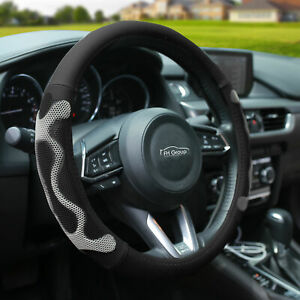 Universal Leather Steering Wheel Covers For Auto Car Suv Van Black Gray