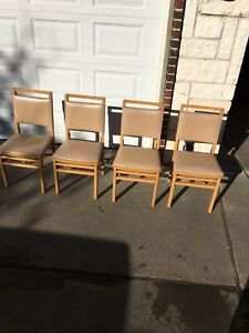4 Ea Vintage Antique Solid Kumfort Folding Chairs Used Great Shape Pickup Only