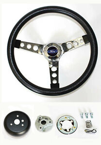 New Explorer Ranger Black Steering Wheel Grant 13 1 2 Chrome Spokes Ford Cap