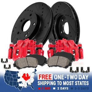 Front Red Brake Calipers And Rotors Pads For 1999 2000 2001 Ford Mustang Cobra