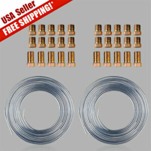 Zinc Steel Copper Brake Line Tubing Kit 3 16 Of 25ft Coil Roll With 30 Fittings