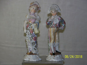 Antique Sitzendorf Volkstedt Hand Painted Porcelain Pair Of Figurines