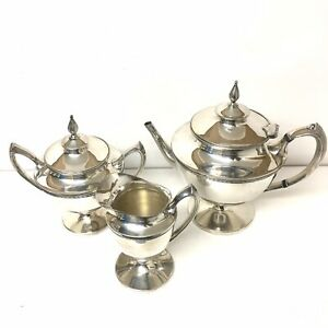 Silver Teapot Ns Dsp Co 1685 Minimalist Anchor Crown Creamer Sugar Bowl Lot Of 3