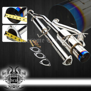 For 94 97 Accord 4cyl 2 4dr Stainless Catback Muffler Exhaust System Burnt Tip