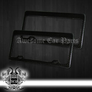 Pair 2x Carbon Fiber License Plate Frame Cover Trim Tag United State Front Rear