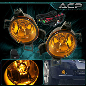 For 2005 2006 Nissan Altima Front Bumper Yellow Fog Lamps Lights Assembly Set
