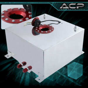 40 Liter 10 Gallon Chrome Aluminum Fuel Cell Tank With Gauge Sender Red Cap