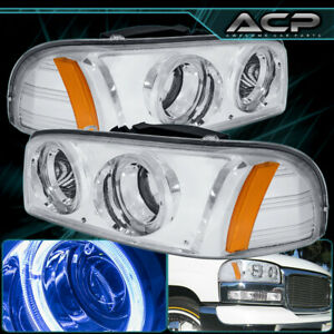 For 99 06 Gmc Sierra Yukon Dual Halo Projector Clear Headlight Lamp Amber Side