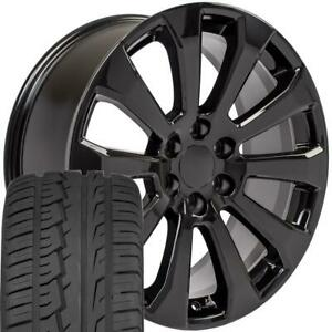 22x9 Black 5922 Rims 285 45 22 Tires Fit Gmc Chevrolet 1500 High Country