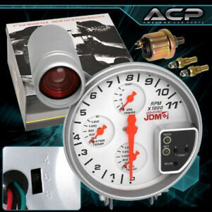 For Dodge Jeep Sport 4 In 1 Rpm Tachometer Racing Gauge W Shift Light White Kit