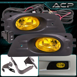 Yellow Fog Lights For Honda Accord 06 07 4 Drs Jdm Style Switch Wiring Kit