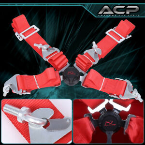 Red 4 Point 2 Cam Center Lock Quick Release Nylon Seat Belt Harness Safety