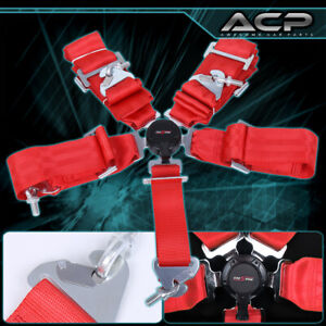 3 Red Nylon Racing Safety Seat Belt Harness 5 Point Camlock Center Lock