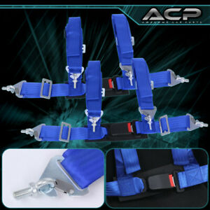2x 4 Point Blue Nylon Racing Harness Safety Seat Belt 2 Buckle Strap Universal