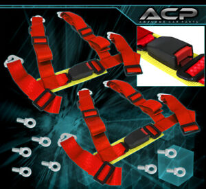 For Benz 2 4 Point Quick Release Harness Seat Belt Support Strap Racing Kit Red