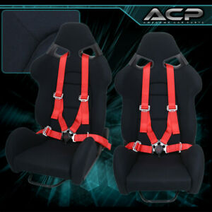 Pair Adjustable Reclinable Black Racing Bucket Seat 4pts Camlock Red Seatbelt