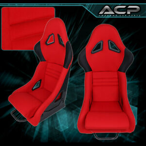 Red Black Fiberglass Lightweight Racing Cloth Bucket Seats Universal Pair