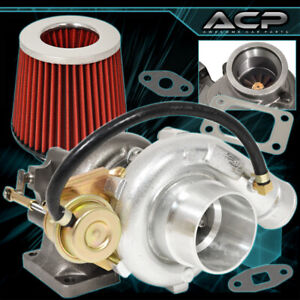 T3 T4 Oil Cooled 50 Ar V band Turbo Charge Hi Flow Air Filter Red Chrome