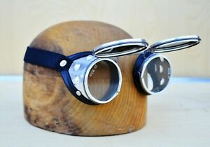 Welding Safety Goggles Steampunk Motorcycle Aviator Flip Up Vtg Glasses nos
