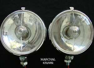 Marchal 672 682 5 3 4 Driving Lights With Clear 12v 55 Watt Bulbs