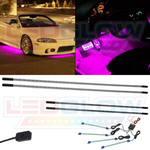 Ledglow 4pc Pink Slimline Underbody Car Led Neon Light Kit W 4pc Interior Lights