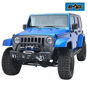 Eag Fit 07 18 Jeep Wrangler Jk Stubby Front Bumper Black With Winch Mount Plate