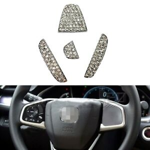 Alloy Crystal Diamond Steering Emblem Insert Filler For Civic Accord Fit Crv Hrv