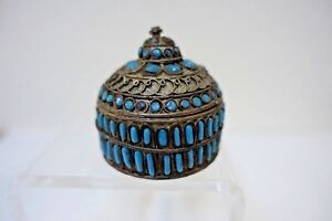 Mdr Vintage Tibet Nepal Gilt Brass Inlaid Turquoise Blue Glass Small Round Box