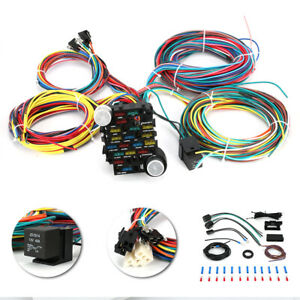 New Universal 12v 21 Circuit Wiring Harness For Chevy Mopar Ford Hotrods