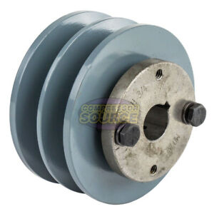 Cast Iron 3 75 2 Groove Dual Belt B Section 5l Pulley With 3 4 Sheave Bushing