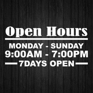 Open Hour Decals Stickers Sign Sticker Business Store Shop Signs
