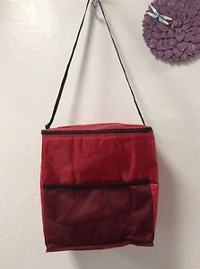 Large Insulated Food Container Carrier Zip Top Mesh Outside Pocket Red H40