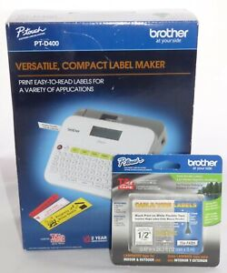 Brother P touch Pt d400 Compact Electronic Label Maker Printer Bundle Brand New